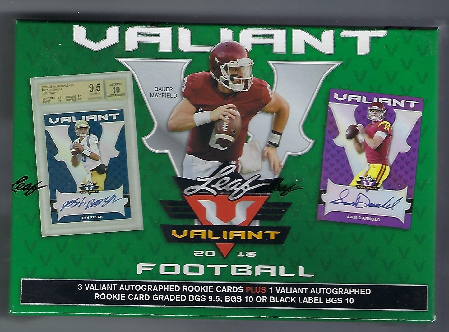 2018 Leaf Valiant Football Factory Sealed Hobby Box.